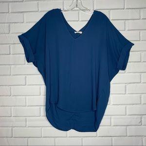 LUSH blouse blue oversized slouchy large